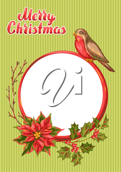 Merry Christmas frame design. Holiday decorations in vintage style.
