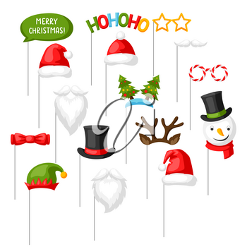 Merry Christmas photo booth props. Accessories for festival and party.