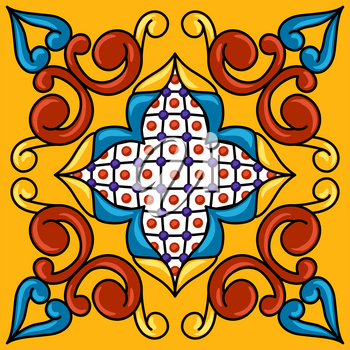 Mexican talavera ceramic tile pattern. Decoration with ornamental flowers. Traditional decorative objects. Ethnic folk ornament.