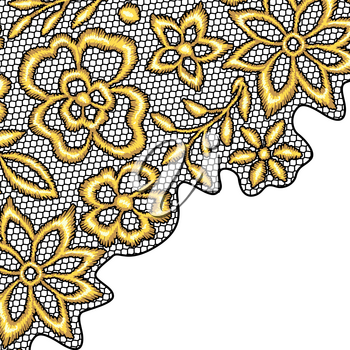 Lace background with gold flowers. Vintage golden embroidery on lacy texture grid.