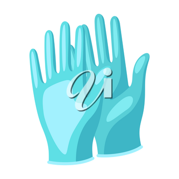 Illustration of protective medical gloves. Health care, treatment and safety item.