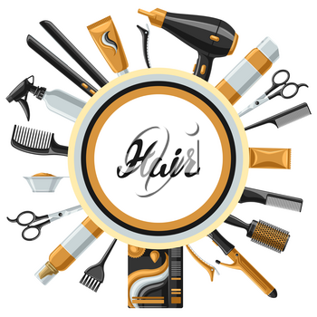Barbershop banner with professional hairdressing tools. Haircutting salon background.