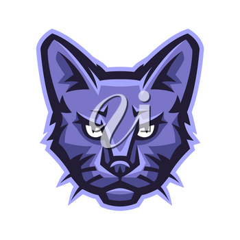 Mascot stylized cat head. Illustration or icon of domestic animal.