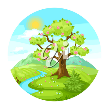 Spring landscape with trees, mountains and hills. Seasonal nature illustration.