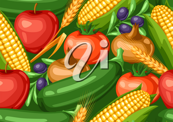 Harvest seamless pattern with fruits and vegetables. Autumn seasonal illustration.