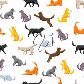 Seamless pattern with stylized cats in various poses. Cute kitten background.