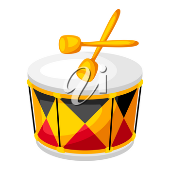 Illustration of carnival drum. Decor for parties, traditional holiday or festival.