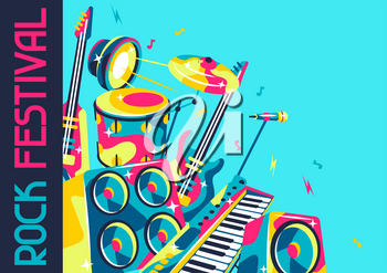 Background with musical instruments. Music party or rock concert illustration.