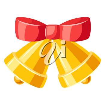 Illustration of golden bells with red bow. Merry Christmas or Happy New Year decoration.