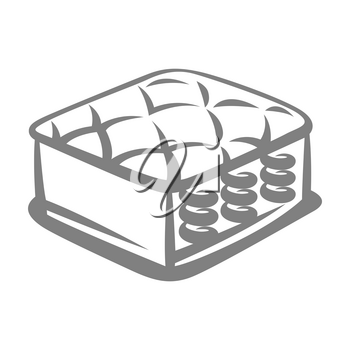 Illustration of spring mattress. Icon, emblem or label for sleep products.