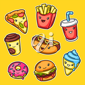 Set of cute kawaii fast food meal. Tasty funny characters of fastfood.