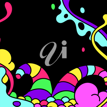 Background with slime and tentacles. Urban colorful abstract cartoon illustration.