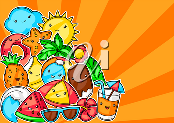 Background with cute kawaii summer items. Vacation and beach funny character.