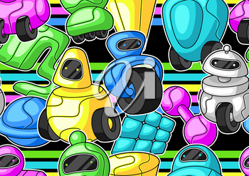 Seamless pattern with robots. Teenage creative background. Trendy characters in modern cartoon style.