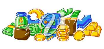 Banking background with money icons. Business concept with finance items. Economy and commerce stylized image.