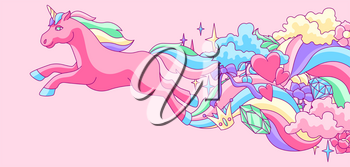 Background or card with unicorn and fantasy items. Fairytale cartoon children illustration.