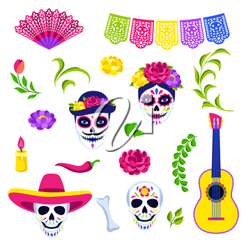 Day of the Dead symbols collection. Dia de los muertos. Mexican celebration. Holiday traditional items.