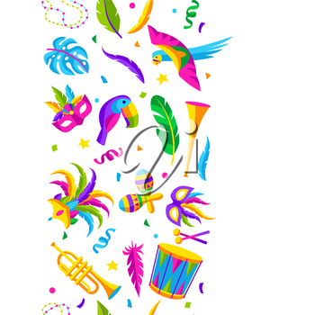 Carnival party seamless pattern with celebration icons, objects and decor. Mardi Gras background for traditional holiday or festival.