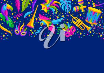 Carnival party background with celebration icons, objects and decor. Mardi Gras illustration for traditional holiday or festival.