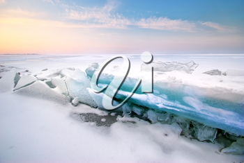 Ice and horizon. Composition of nature.