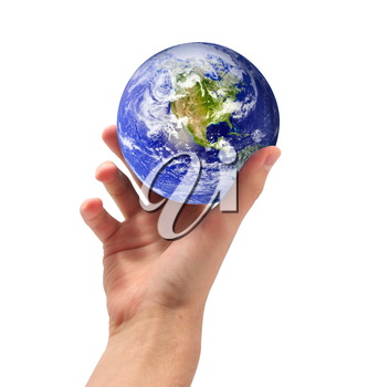 Planet Earth in hand. Conceptual design. Isolated object.