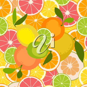 Fruit seamless pattern. Lemon, orange, grapefruit, pomelo, lime. Vector illustration.