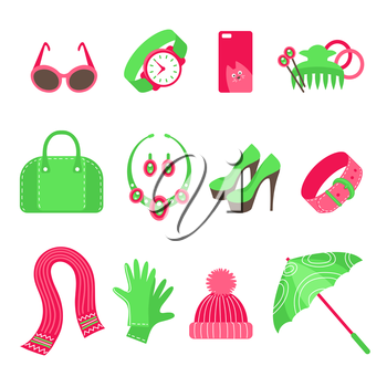 Feminine accessories icons set isolated on white background. Sunglasses, watch, phone cover, hair accessories, handbag, jewelry, shoes, belt, scarf, gloves, hat, umbrella. Flat vector illustration.