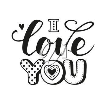 I love you text. Calligraphic Lettering. Valentine s day greeting card template. Vector illustration.