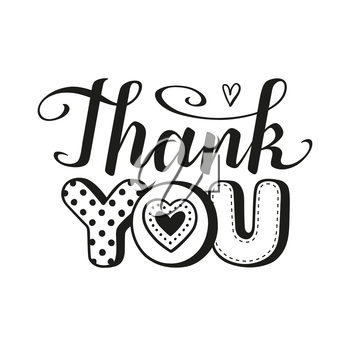 Thank you text calligraphic Lettering. Greeting card template. Vector illustration.