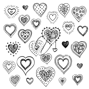Hand drawn sketch set. Hearts isolated on white background.