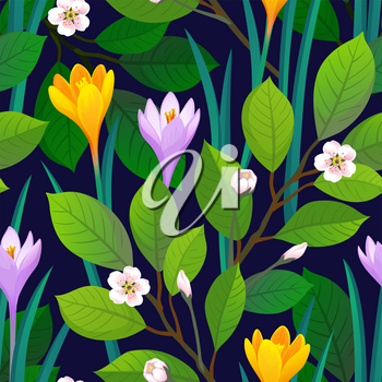 Floral seamless pattern with crocuses and cherry blossom. Vector illustration of leaves and flowers. Spring and summer background.