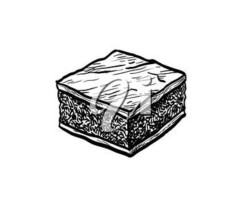 Chocolate brownie. Ink sketch isolated on white background. Hand drawn vector illustration. Retro style.