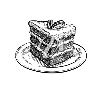 Carrot cake. Ink sketch isolated on white background. Hand drawn vector illustration. Retro style.
