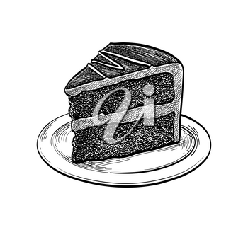 Chocolate cake. Ink sketch isolated on white background. Hand drawn vector illustration. Retro style.