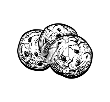 Chocolate chip cookies. Ink sketch isolated on white background. Hand drawn vector illustration. Retro style.