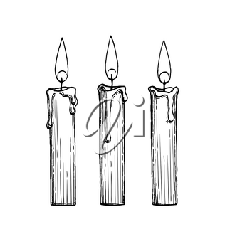 Thin candles burning. Ink sketch isolated on white background. Hand drawn vector illustration. Retro style.