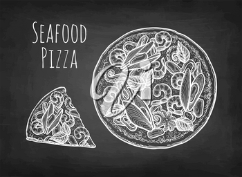 Seafood pizza. Chalk sketch on blackboard background. Hand drawn vector illustration. Retro style.
