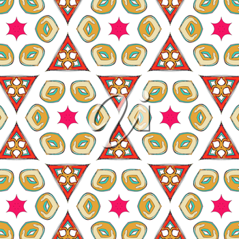 bright pattern in the style of the fifties, colorful kaleidoscope of red, orange and neon