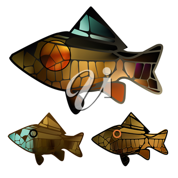 stained glass mosaic  to any surface with gold bright colorful marine fish