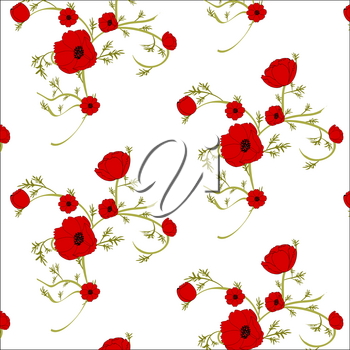 Gentle floral background with red poppies. Patterns for textiles. Seamless floral background.