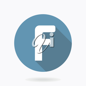 White vector letter F in blue circle with flat design and long shadow