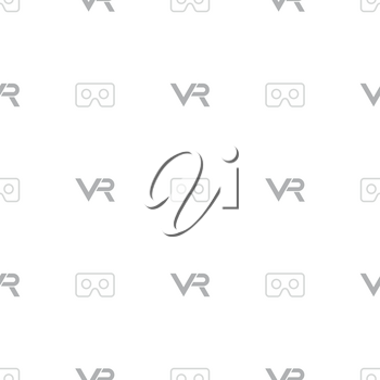 Seamless vector pattern with VR logos. Virtual reality light logos