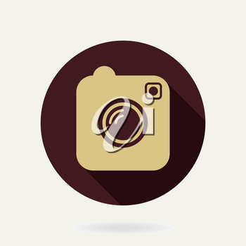 Camera vector golden flat icon in the circle with long shadow