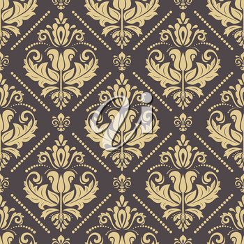 Classic seamless vector pattern. Damask orient oldden ornament. Classic vintage background. Orient ornament for fabric, wallpaper and packaging