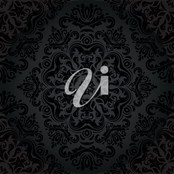 Pattern in the style of baroque. Seamless vector background. Damask texture with black orient and floral elements