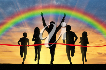 Runners, rainbow, sport. Winning runner crosses the red tape on the background of the rainbow