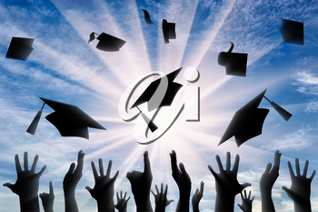 Hands throwing graduate cap in sky in day. concept of education