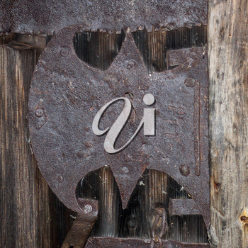 Vintage wrought iron lock of the 17th century.
