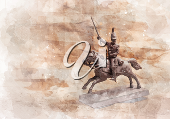 Stylized pencil drawing with Figurine soldier on a horse on the background of old paper. There is a variant in the vector.
