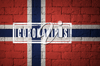 Flag of the Norway with original proportions. stamped of Coronavirus. brick wall texture. Corona virus concept. On the verge of a COVID-19 or 2019-nCoV Pandemic.